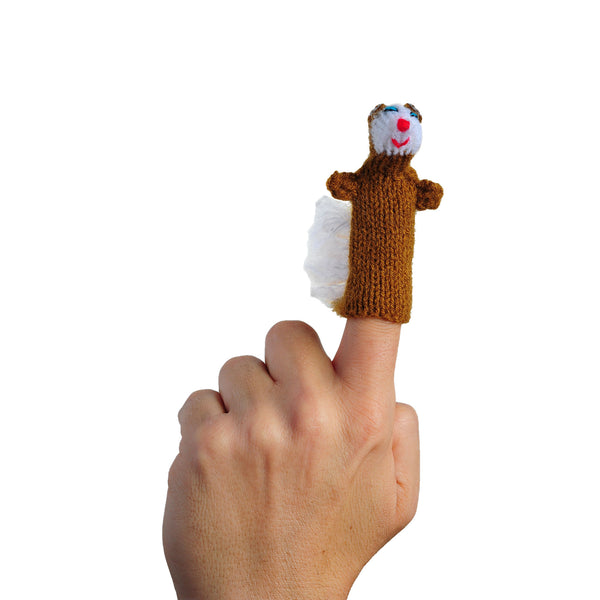Bushy Tail Squirrel Finger Puppet on a Finger