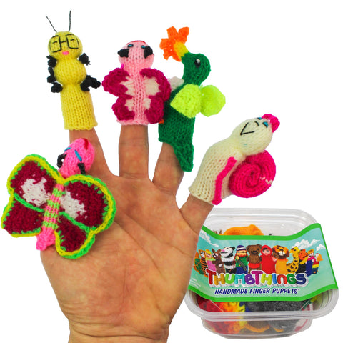 ThumbThings Handmade Finger Puppets, Set of 5: Butterfly, Caterpillar, Baby Butterfly, Hummingbird, Garden Snail