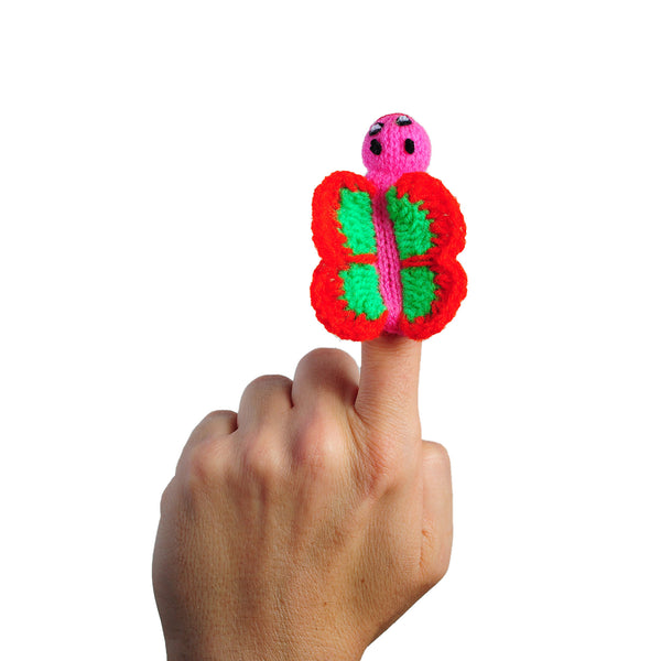 butterfly finger puppet on a finger