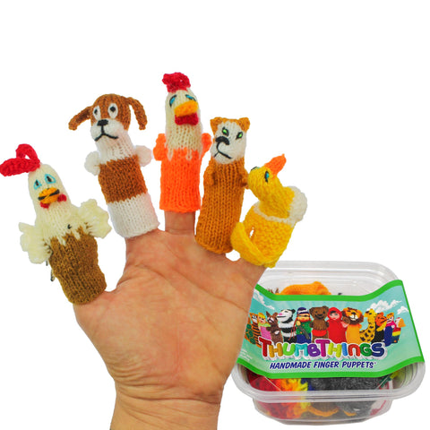 ThumbThings Handmade Finger Puppets, Set of 5: Chicken, Hound, Hen, Fox, Duck