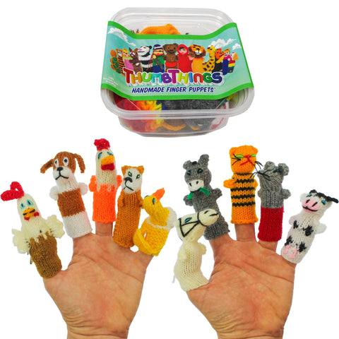 ThumbThings Handmade Finger Puppets, Set of 10: Chicken, Hound, Hen, Fox, Duck, Horse, Donkey, Cat, Farmhouse Mouse, Bovine Cow
