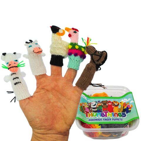 ThumbThings Handmade Finger Puppets, Set of 5: Cow, Calf, Sheep, Rooster, Horse