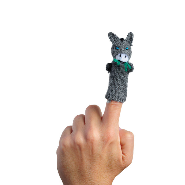 Thumbthings Donkey Finger Puppet on a finger