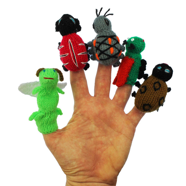 insect finger puppets, insect puppets in action, puppets for kids