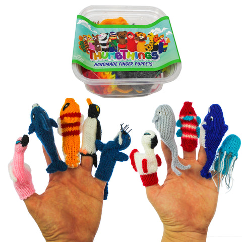 ThumbThings Handmade Finger Puppets, Set of 10: Flamingo, Dolphin, Clown Fish, Penguin, Walrus, Roseate Spoonbill, Pacific Gray Whale, Tropical Fish, Blue Whale, Jellyfish