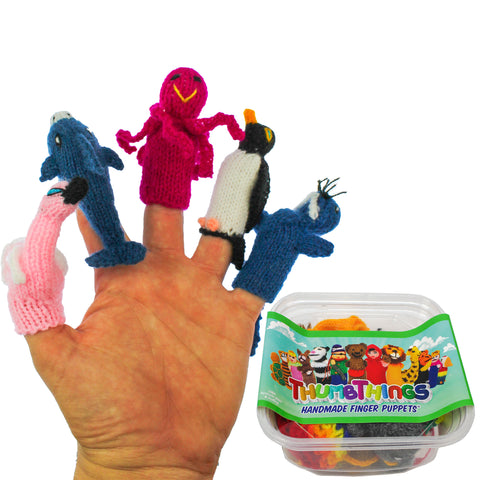ThumbThings Handmade Finger Puppets, Set of 5: Flamingo, Dolphin, Octopus, Penguin, Walrus