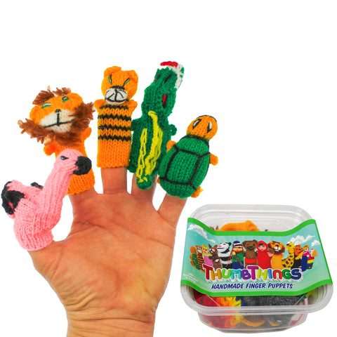 ThumbThings Handmade Finger Puppets, Set of 5: Flamingo, Lion, Tiger, Alligator, Turtle