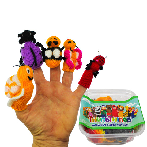 ThumbThings Handmade Finger Puppets, Set of 5: Garden Snail, Purple Jewel Beetle, Bumble Bee, Baby Butterfly, Caterpillar
