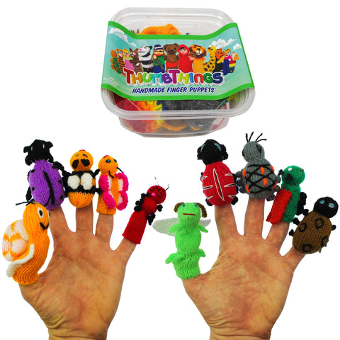 ThumbThings Handmade Finger Puppets, Set of 10: Garden Snail, Purple Jewel Beetle, Bumble Bee, Baby Butterfly, Caterpillar, Firefly, Ladybug, Rainforest Beetle, Locust, Bean Leaf Beetle