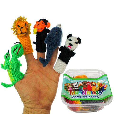 ThumbThings Handmade Finger Puppets, Set of 5: Gecko, Baby Lion, Monkey, Dolphin, Panda