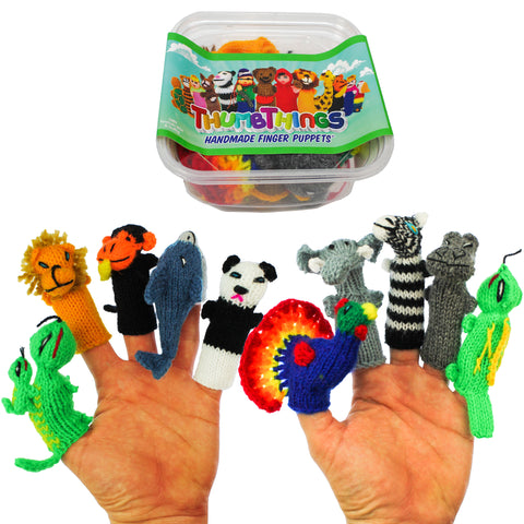 ThumbThings Handmade Finger Puppets, Set of 10: Gecko, Baby Lion, Monkey, Dolphin, Panda Bear, Peacock, Elephant, Zebra, Hippo, Iguana