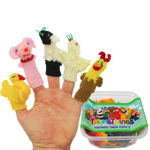 ThumbThings Handmade Finger Puppets, Set of 5: Goose, Piggy, Lamb, Baby Lamb, Chicken