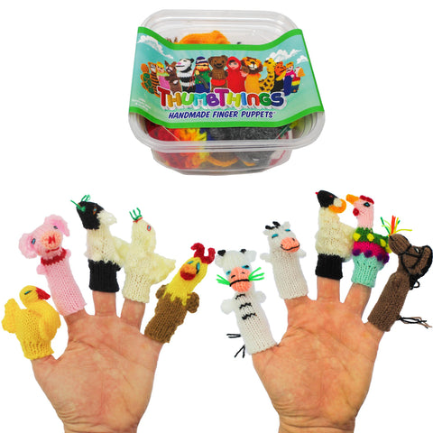 ThumbThings Handmade Finger Puppets, Set of 10: Goose, Piggy, Lamb, Baby Lamb, Chicken, Cow, Calf, Sheep, Rooster, Horse