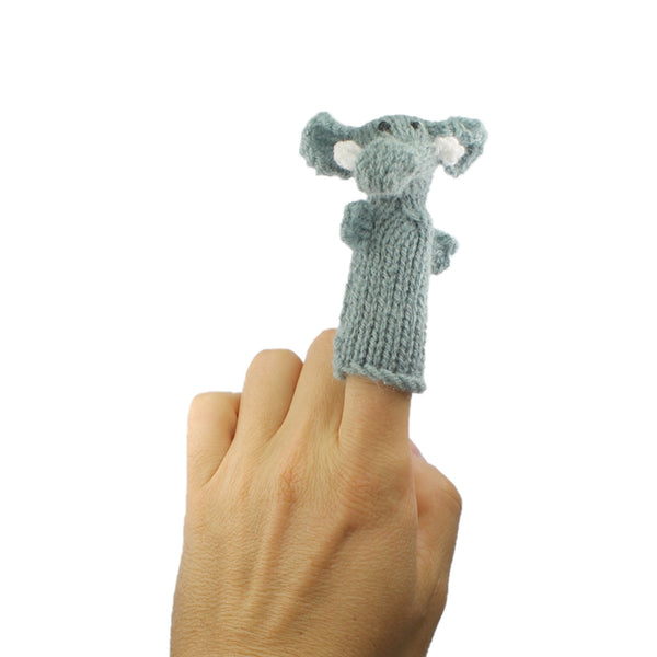 grey elephant finger puppet in use on a finger