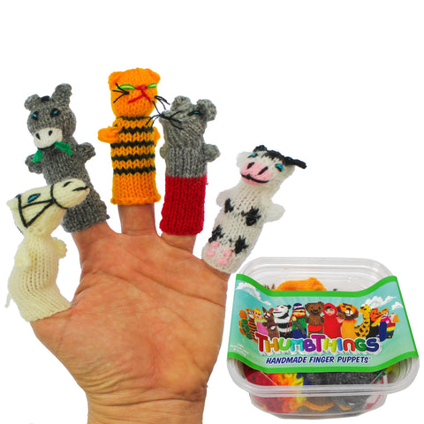 ThumbThings Handmade Finger Puppets, Set of 5: Horse, Donkey, Cat, Farmhouse Mouse, Bovine Cow