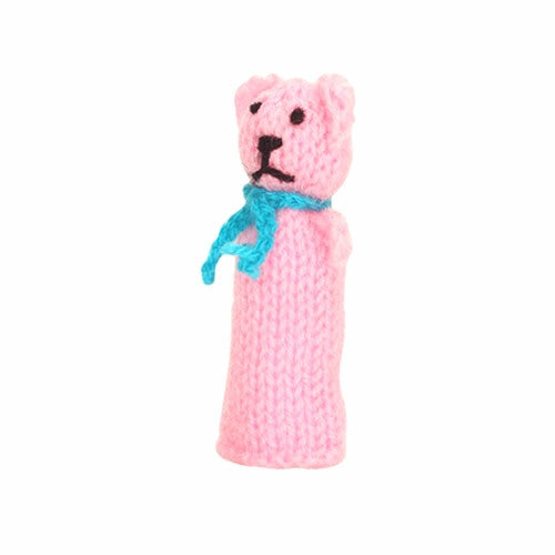 pink teddy bear finger puppet