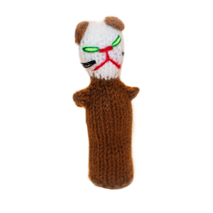 brown and white cat finger puppet