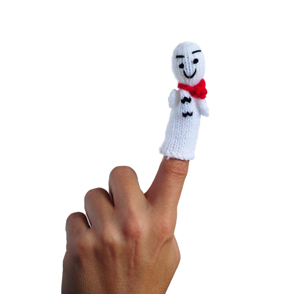 Jack Frost Finger Puppet in use on a finger