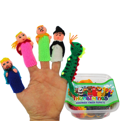 ThumbThings Handmade Finger Puppets, Set of 5: King, Princess, Prince, Wizard, Fire Breathing Dragon