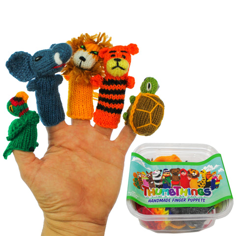 ThumbThings Handmade Finger Puppets, Set of 5: Macaw, Elephant, Lion, Tiger, Tortoise