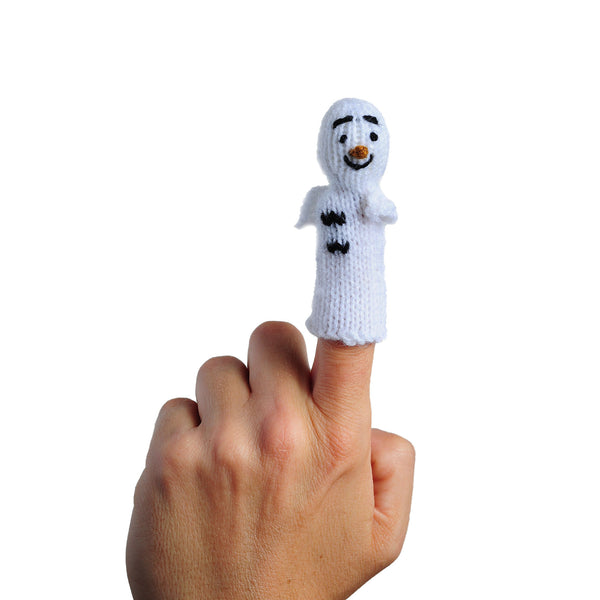 Old Man Winter finger puppet on a person's finger