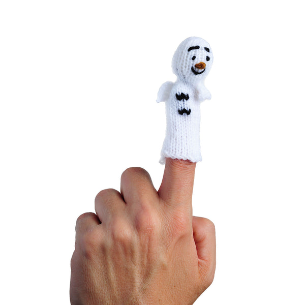 old man winter finger puppet on a finger