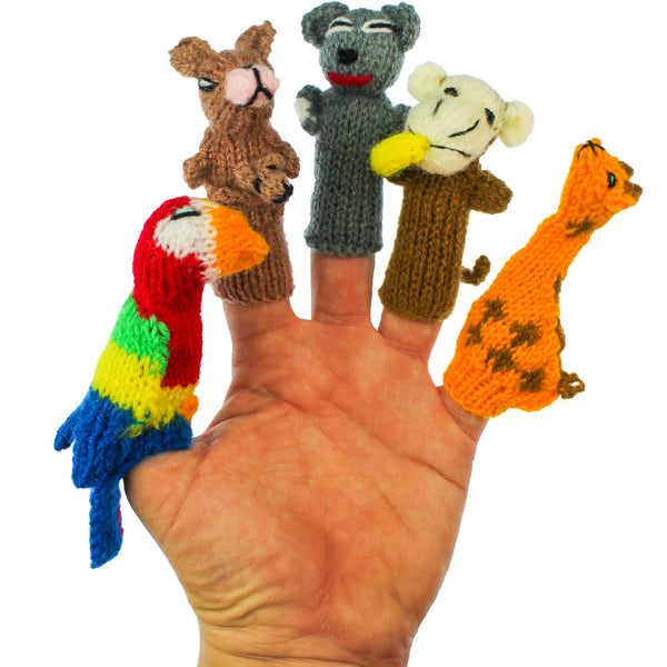parrot toy, kangaroo toy, koala bear toy, monkey toy, giraffe toy
