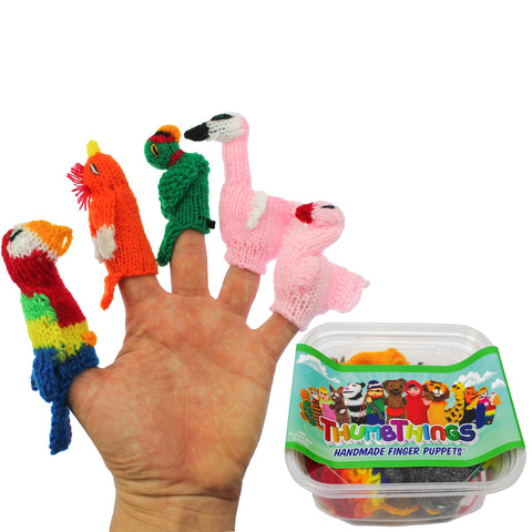 ThumbThings Handmade Finger Puppets, Set of 5: Parrot, Cockatoo, Macaw, Momma Flamingo, Baby Flamingo