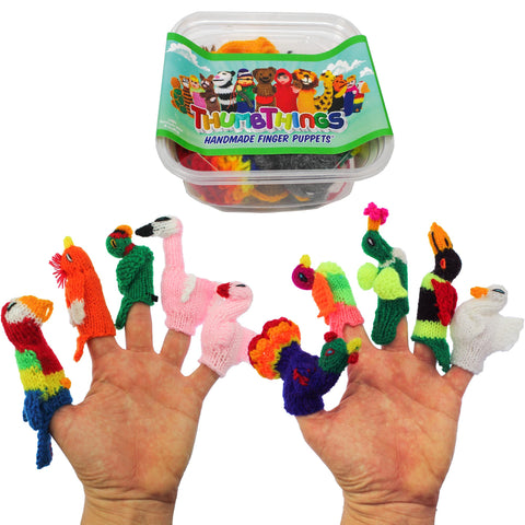ThumbThings Handmade Finger Puppets, Set of 10: Parrot, Cockatoo, Macaw, Momma Flamingo, Baby Flamingo, Peacock, Gouldian Finch, Hummingbird, Toucan, Emperor Swan