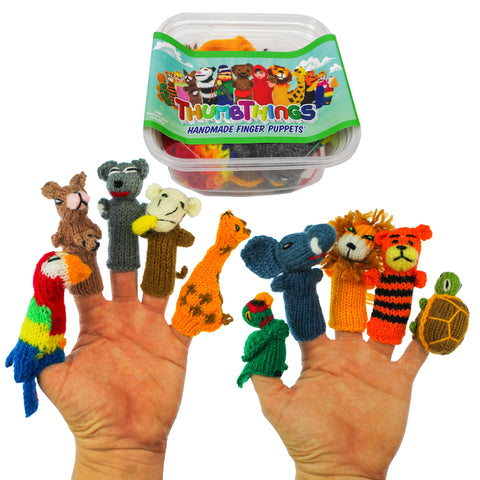ThumbThings Handmade Finger Puppets, Set of 10: Parrot, Kangaroo, Koala Bear, Monkey, Giraffe, Macaw, Elephant, Lion, Tiger, Tortoise