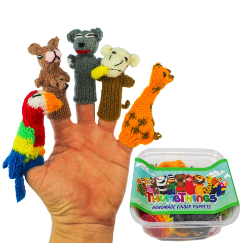 ThumbThings Handmade Finger Puppets, Set of 5: Parrot, Kangaroo, Koala Bear, Monkey, Giraffe