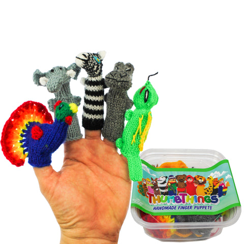 ThumbThings Handmade Finger Puppets, Set of 5: Peacock, Elephant, Zebra, Hippo, Iguana