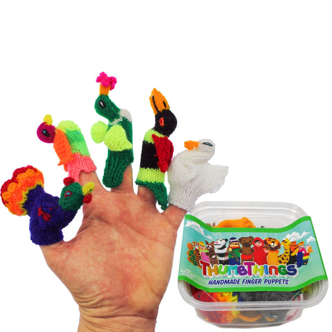 ThumbThings Handmade Finger Puppets, Set of 5: Peacock, Gouldian Finch, Hummingbird, Toucan, Swan