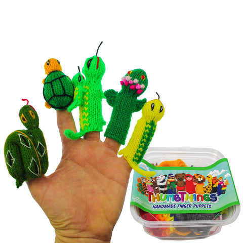 ThumbThings Handmade Finger Puppets, Set of 5: Python, Turtle, Gecko & Baby, Gecko, Amazon Dart Frog, Salamander