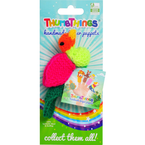Rainbow Finch finger puppet by ThumbThings Finger Puppets
