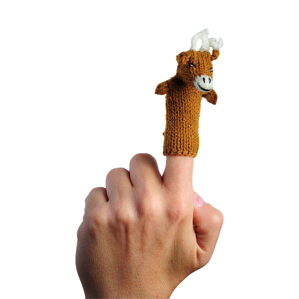 reindeer finger puppet on a finger