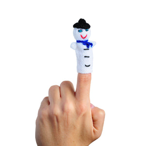happy snowman finger puppet on a finger