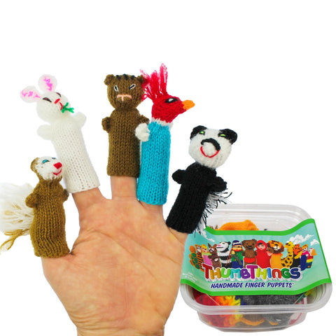 ThumbThings Handmade Finger Puppets, Set of 5: Squirrel, Bunny, Chipmunk, Woodpecker, Skunk