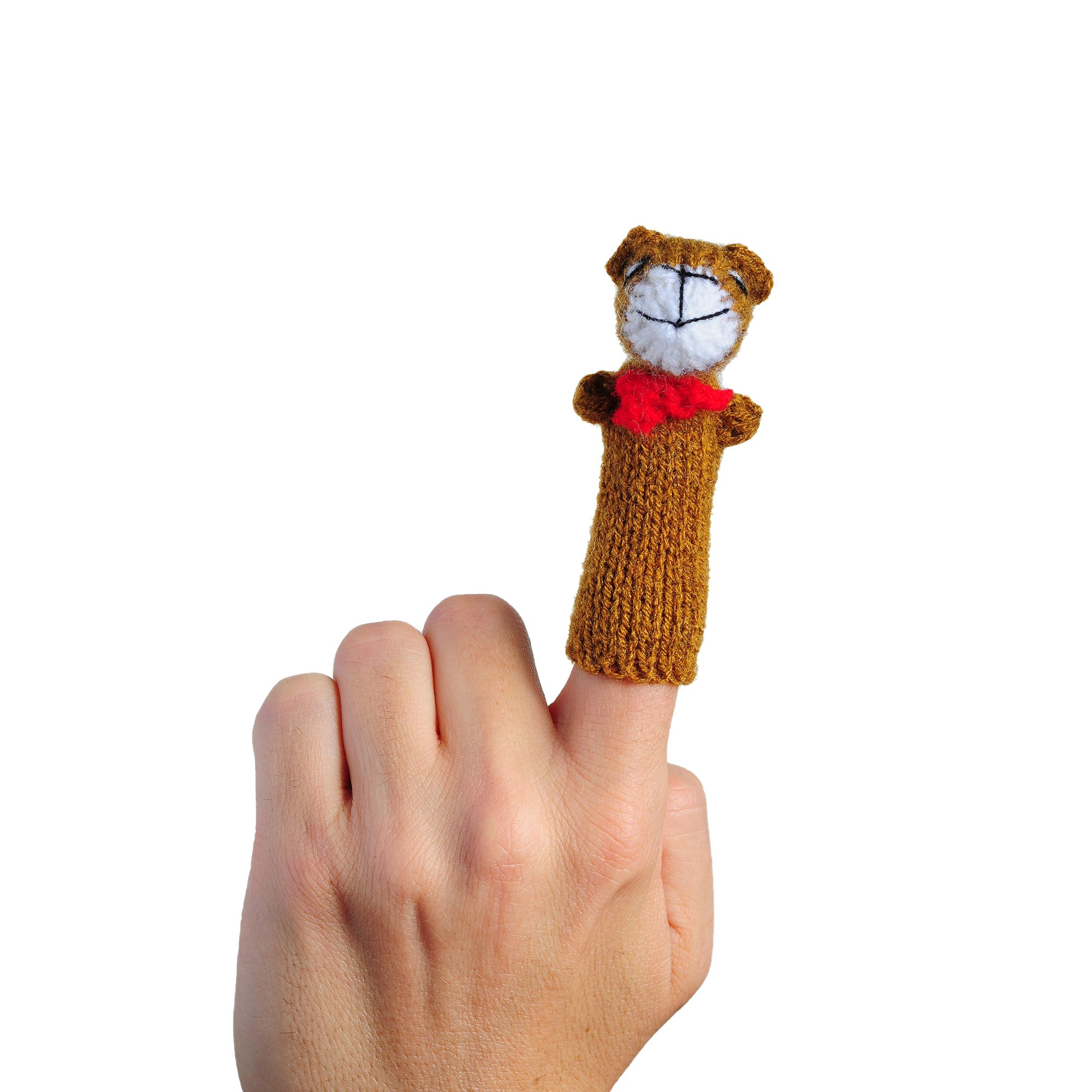 teddy bear finger puppet on a person's finger