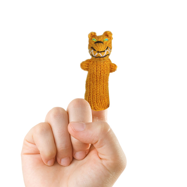 jackal finger puppet on a finger