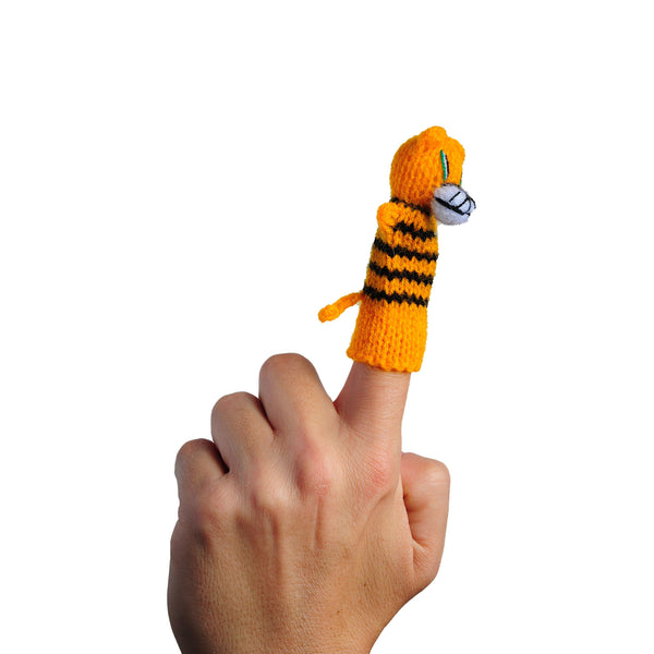 Thumbthings Tiger Cub Finger Puppet in use