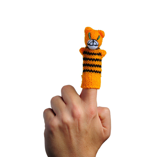 Thumbthings Tiger Cub Finger Puppet on a finger
