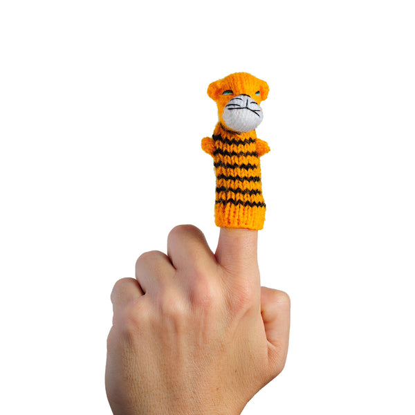 Thumbthings tiger finger puppet on a finger