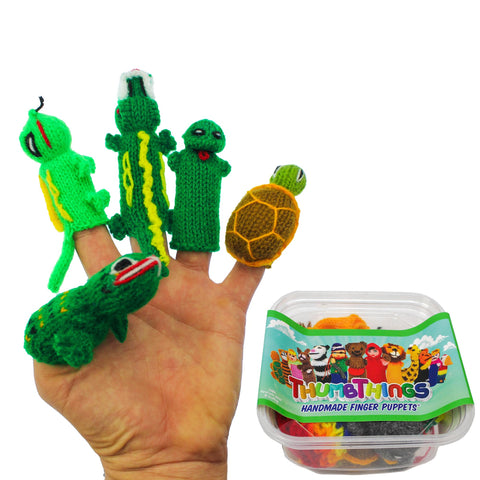 ThumbThings Handmade Finger Puppets, Set of 5: Toad, Iguana, Alligator, Tree Frog, Tortoise