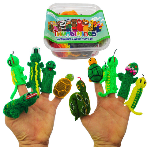 ThumbThings Handmade Finger Puppets, Set of 10: Toad, Iguana, Crocodile, Tree Frog, Tortoise, Python, Turtle, Gecko & Baby Gecko, Amazon Dart Frog, Salamander