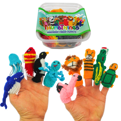 ThumbThings Handmade Finger Puppets, Set of 10: Blue Whale, Jellyfish, Clown Fish, Penguin, Octopus, Flamingo, Lion, Tiger, Alligator, Turtle