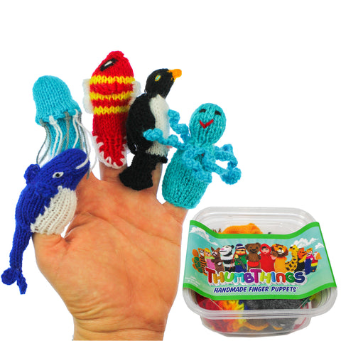 ThumbThings Handmade Finger Puppets, Set of 5: Blue Whale, Jellyfish, Clown Fish, Penguin, Octopus