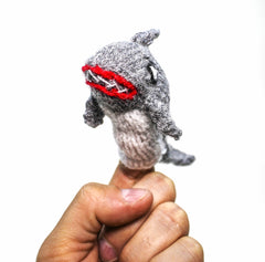 grey shark finger puppet