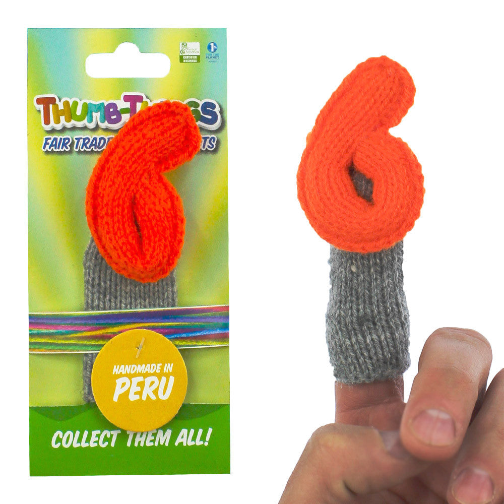 """number six"" finger puppet, handmade, fair trade, eco-friendly"