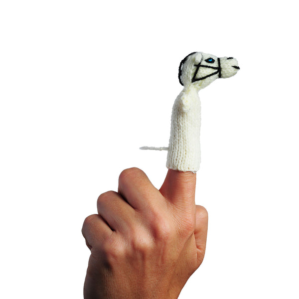horse finger puppet on a finger